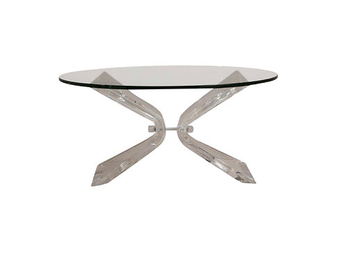 1970s Hollywood Regency Butterfly Shaped Lucite Coffee Table