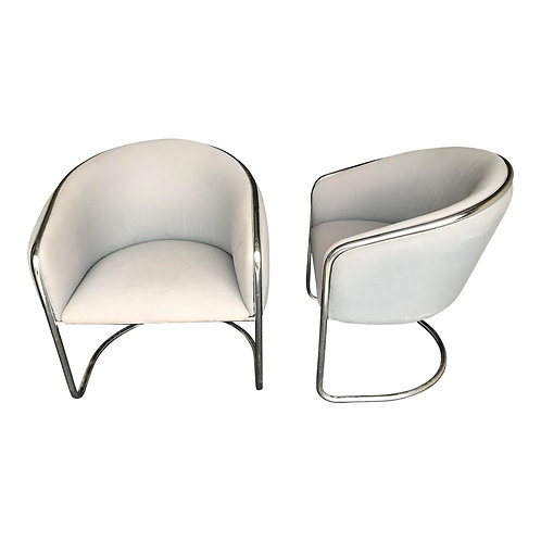 Cantilevered Chrome Armchairs by Thonet - a Pair