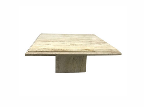 1980s Square Travertine Coffee Table