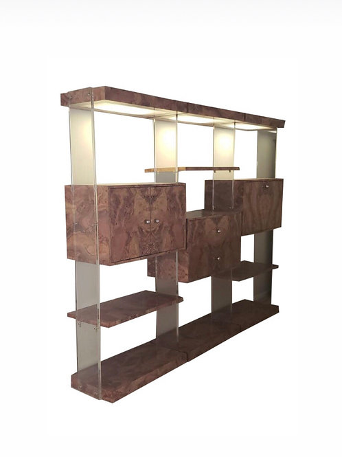 Burlwood and Lucite Wall Unit