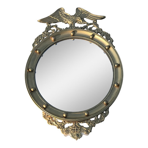 20th Century Federal Eagle Wood & Gesso Gilded Convex Mirror