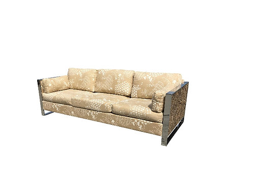 1970s Vintage Adrian Pearsall Cork and Chrome Sofa