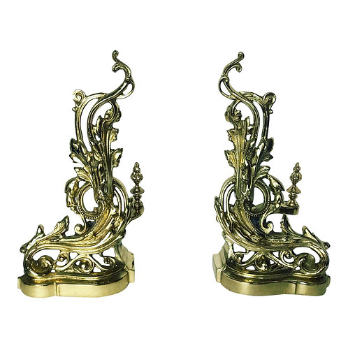 19th Century French Rococo Baroque Style Brass Andirons - a Pair