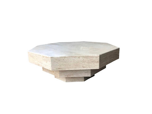 Octagonal Stacked Travertine Coffee Table