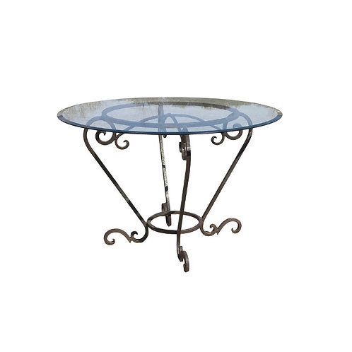 Scrolled Wrought Iron Breakfast or Patio Garden Table