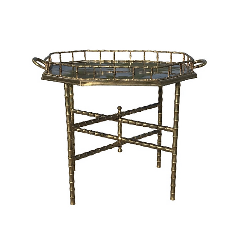 Maison Baguès Faux Bamboo Brass Tray With Folding Table