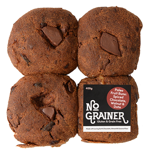 NO GRAINER / Gluten Free / Paleo Fruit Buns: Spiced Choc, Walnut & Date / 400g