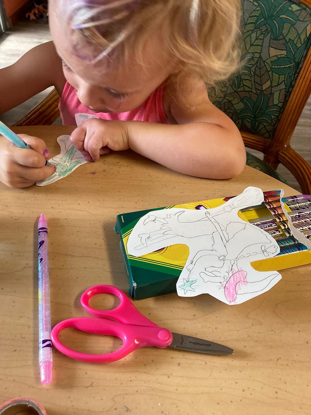 HG (3yo) coloring a favorite book character.