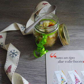 Riciclo creativo: barattolini regalo di pandoro e macedonia invernale