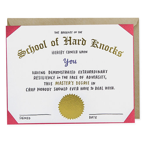 Funny Empathy Greeting Card School of Hard Knocks Degree by Emily McDowell