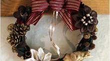 リボンのお花のクリスマスリース