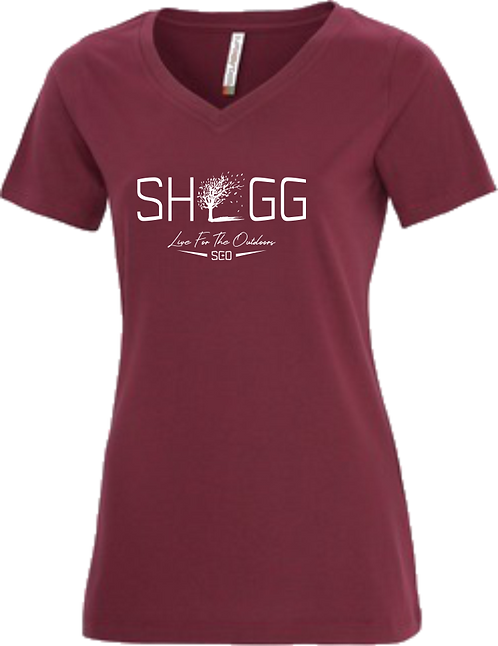Ladies Cardinal V-Neck, Outdoor Life - Choose your Logo