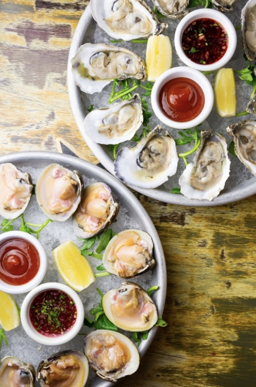 Happy Hour Clams and Oysters