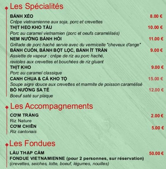 SPECIALITES ET ACCOMPAGNEMENT