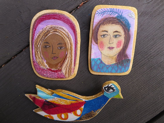 Collage Brooches