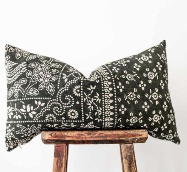 Hmong Batik Black and white pillow