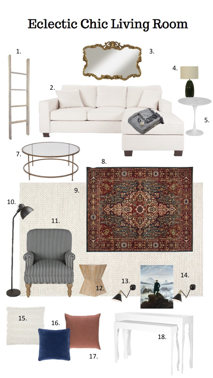 eclectic living room mood board