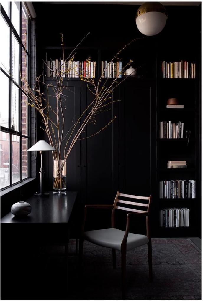 Black office, black shelving