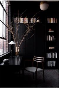 Black office, black shelving