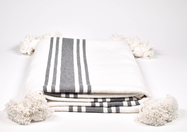 moroccan pom pom blanket white with gray stripes