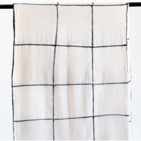 farmer stitch linen embroidered blanket