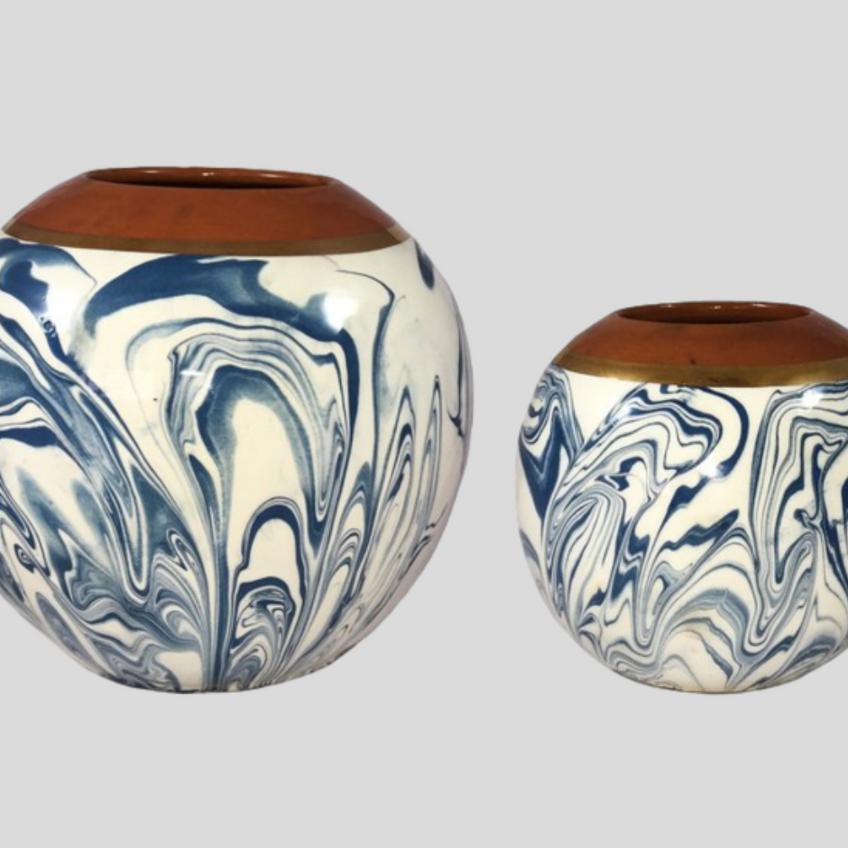 hand painted whirlwind terra-cotta vase