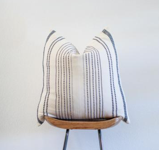 Off White with gray stripes embroidered pillow