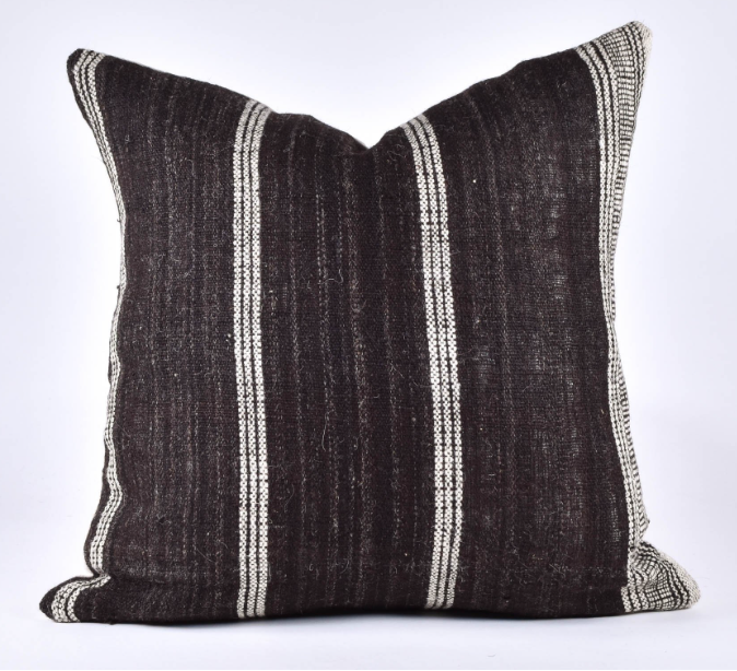 striped brown bhujodi pillow