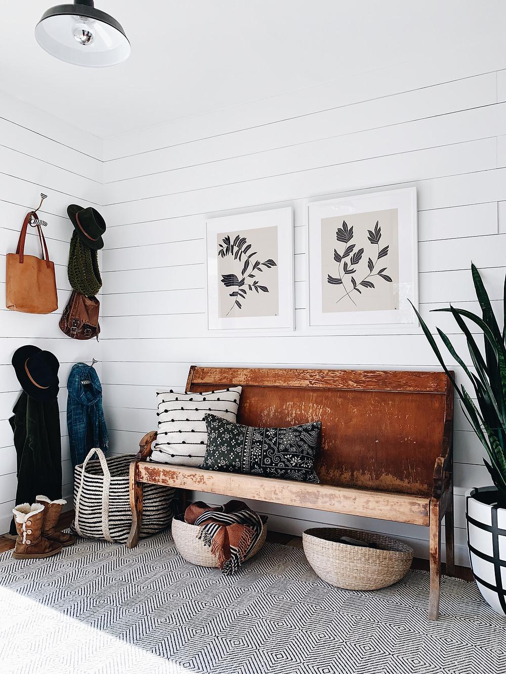 DIY shiplap foyer with vintage bench