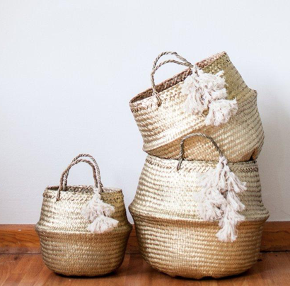 gold seagrass basket with tassels