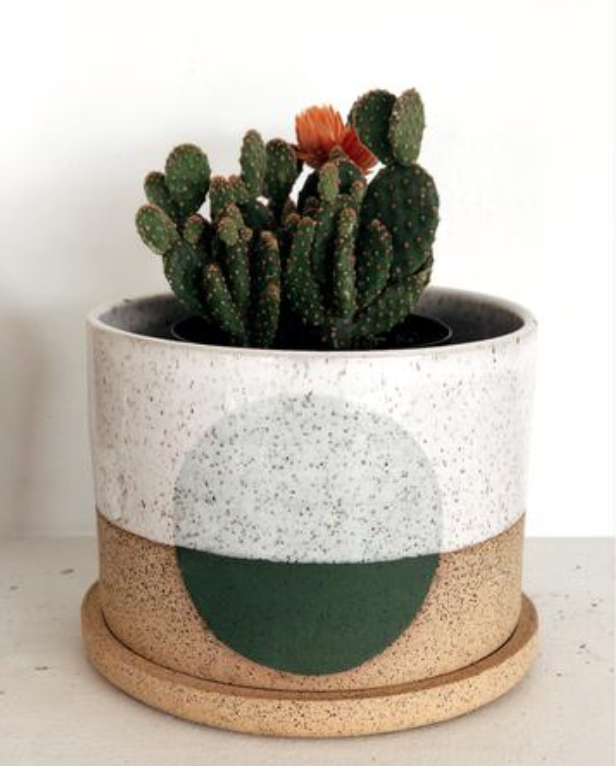 stoneware pottery planter with saucer
