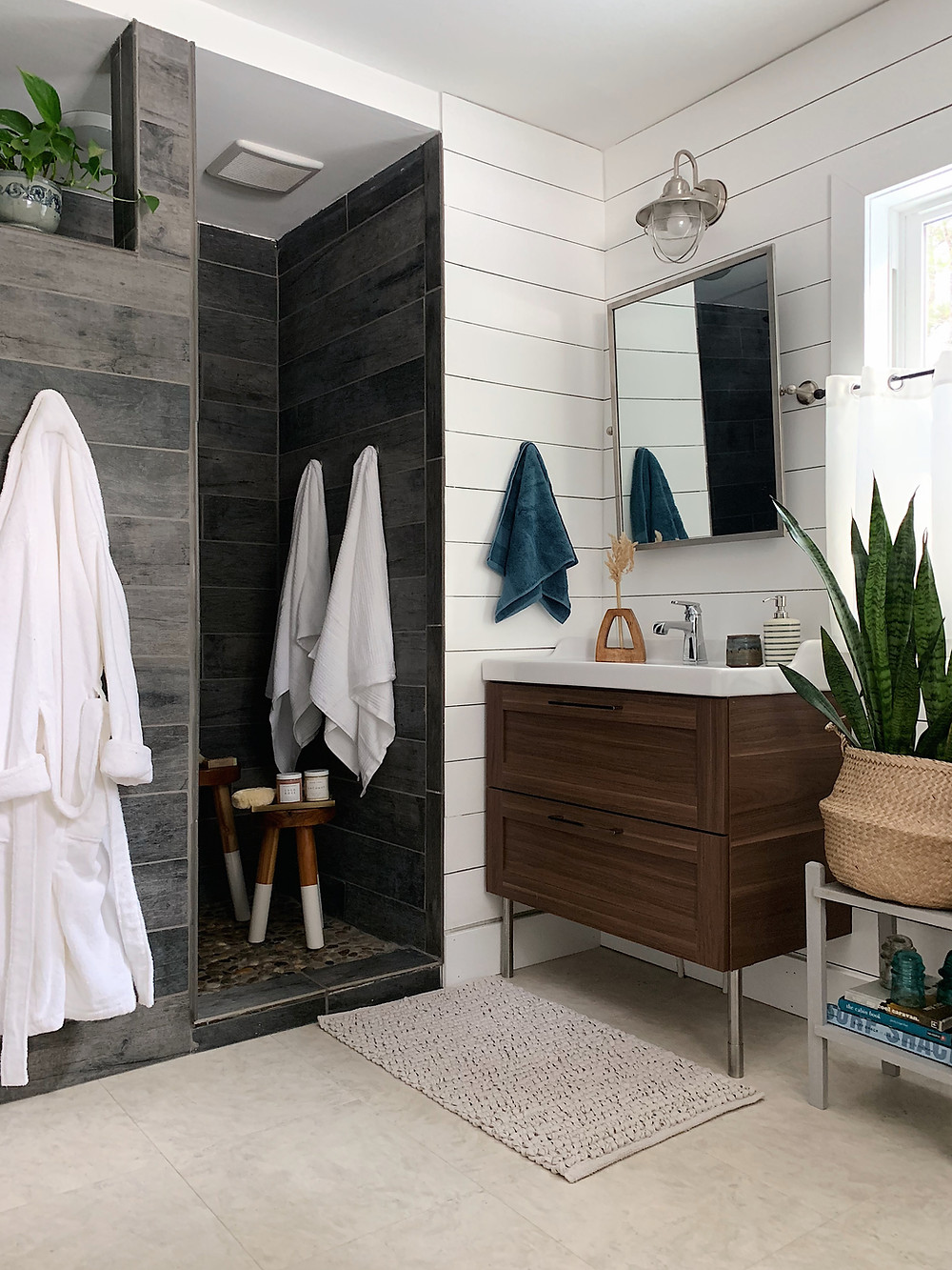 shiplap bathroom with  ikea vanity