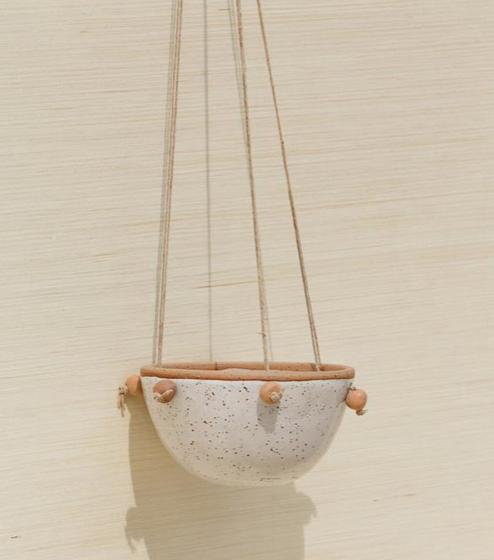 wheel thrown hanging pot planter