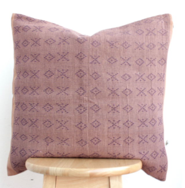Hmong embroidered Pillow - Pink & purple