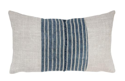 linen and mud cloth pillow