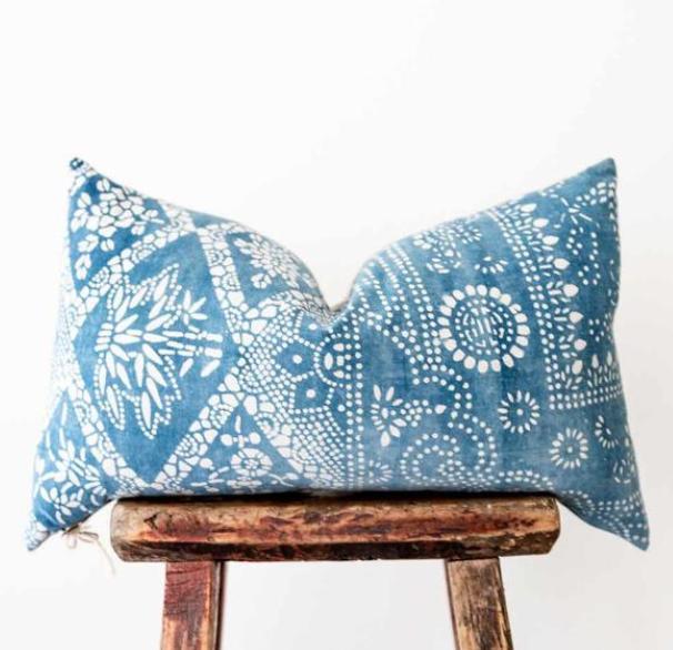 Hmong Batik Blue Pillow