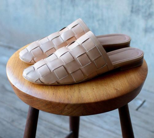 tan woven leather slipper shoe