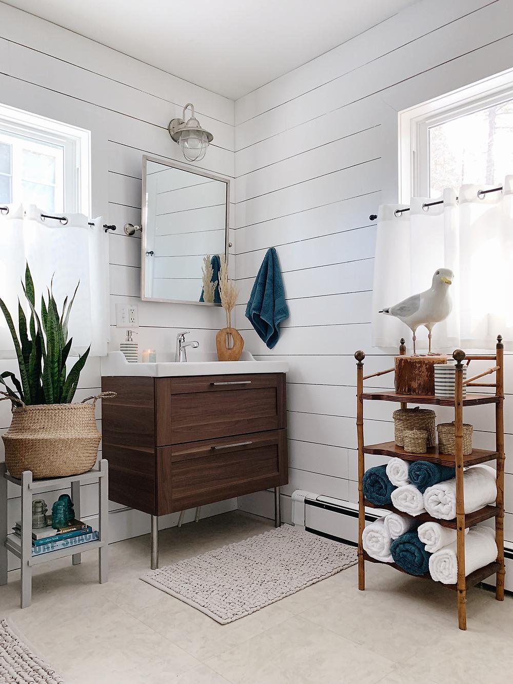 vintage shelf for bathroom towels