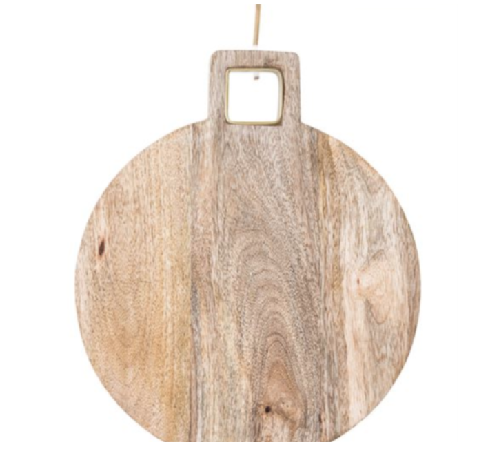 mango wood cutting board - cheese boards brass inlay