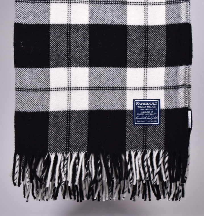 Fairbault wool plaid throw blanket