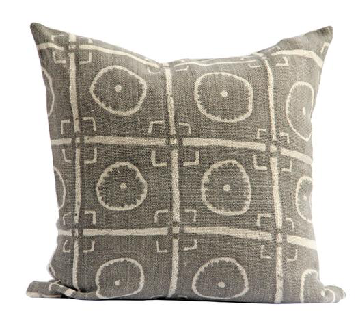 olive mud cloth pillow