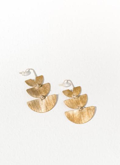 brass half circle earrings