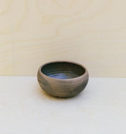 hand thrown smoked ceramic bowl