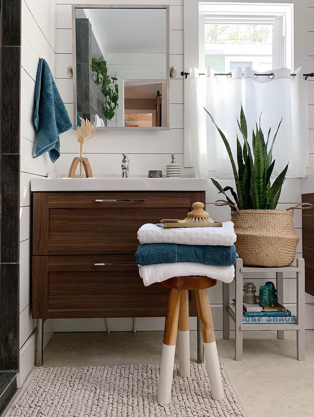 shiplap bathroom with ikea sinks
