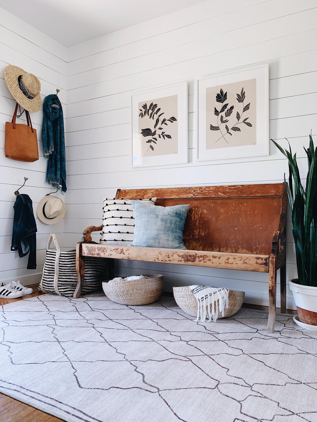shiplap foyer with washable rug