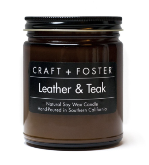soy leather and teak candle