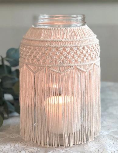 macrame candle jar