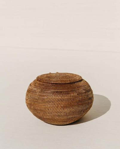 balinese lidded globe basket