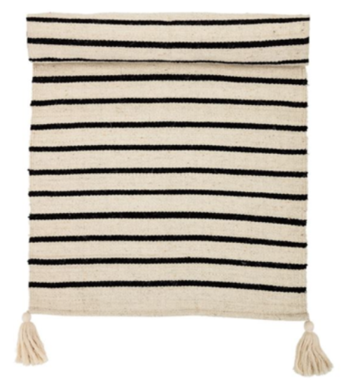 black and white striped cotton runner