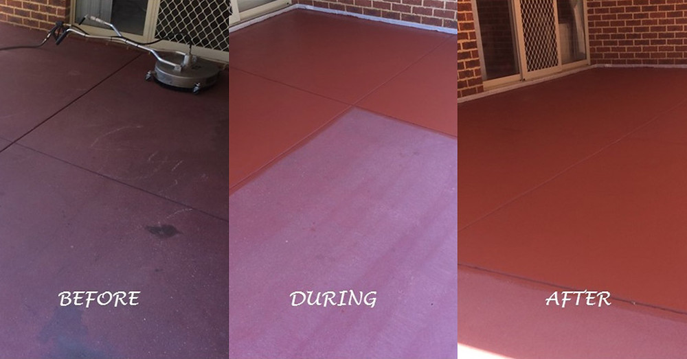 Before and after concrete tinted sealing